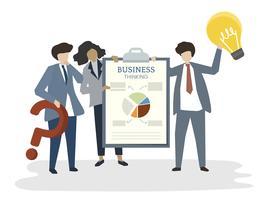 Illustratie van mensenavatar concept van het businessplan