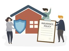 Abbildung von Leuten mit Versicherungspolice