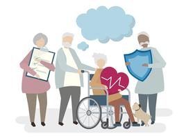 Illustration de personnes âgées avec assurance vie