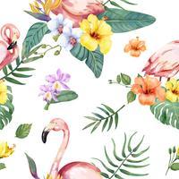 Dibujado a mano pájaro flamenco con flores tropicales