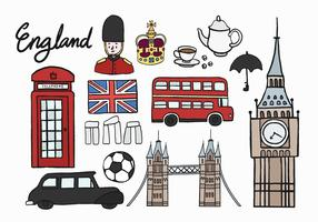 Conjunto de ícones culturais britânicos ilustração