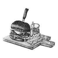 Hambúrguer e batatas fritas desenhados à mão