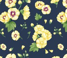 Hand getrokken gele hollyhocks patroon