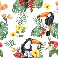 Hand drawn toucan bird with tropical flowers pattern