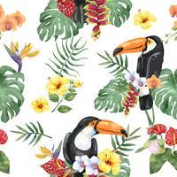 Uccello di toucan disegnato a mano con motivo a fiori tropicali