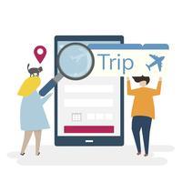 Ilustração de personagens com viagens e conceito de reserva on-line