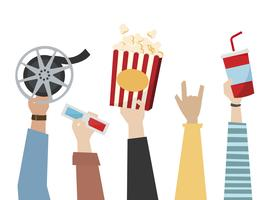 Hands holding cinema themed items illustration
