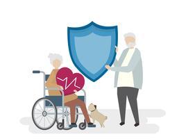 Illustrazione degli anziani con l'assicurazione sulla vita
