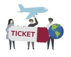 Ilustración de boleto de avión de viaje mundial