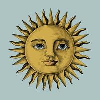 Handdragen sol med ansikte