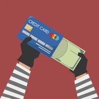 Illustrazione della carta di credito con crimine informatico