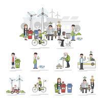 Insieme dell'illustrazione del vettore ambientale