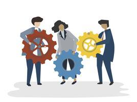 Ilustração do conceito de trabalho em equipe de negócios de avatar de pessoas