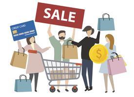 Ilustración de concepto de compras de personas