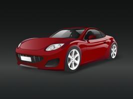 Rotes Sportauto in einem schwarzen Hintergrundvektor