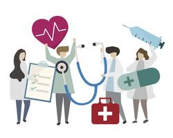 People holding medicine concept icons illustration