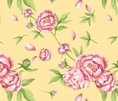 Hand getekend roze pioenroos patroon