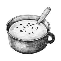 Sopa de creme desenhados à mão