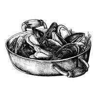 Handgezeichnete gekochte Muscheln
