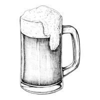 Hand getrokken bier alcoholische drank