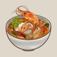 Illustration de la soupe Tom Yum Kung