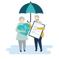 Personagens de um casal de idosos e ilustração do seguro de saúde