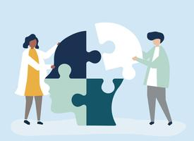 People connecting jigsaw pieces of a head together vector