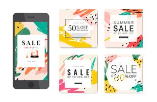 Memphis summer sale design illustration