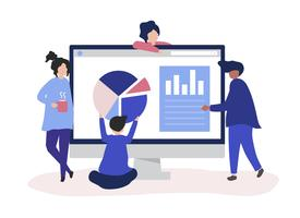 Characters of people analyzing graphs and diagrams illustration vector