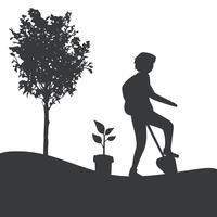 Silhuett av en man trädgårdsarbete vektor