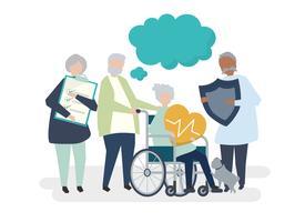 Caractères de personnes âgées détenant illustration d'icônes de soins de santé