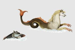 Fantasy fish in vintage style