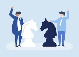 Caratteri di due uomini d'affari che giocano l'illustrazione di scacchi