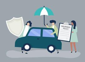 Personer med ikoner relaterade till bilförsäkring