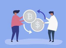 Människor byter bitcoin till dollar
