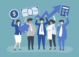 Gens d'affaires détenant illustration de concept de croissance financière