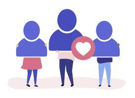 Illustration de personnage de personnes avec des icônes de compte d'utilisateur