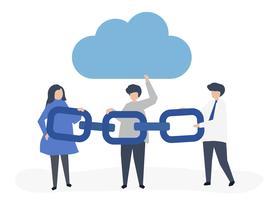 Cloud computing koncept illustration av människor som håller en kedja