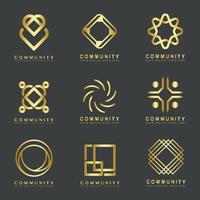 Set van gemeenschapsmerklogo ontwerpmonsters