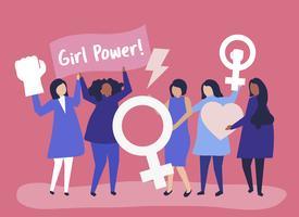 Feministas apoiando a igualdade de gênero com uma manifestação pacífica