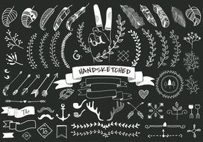 Conjunto de la colección de mano bosquejado etiqueta ornamento ilustración vectorial