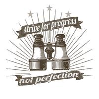 Old binoculars badge illustration