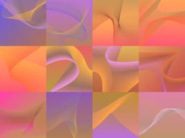 Conjunto de coloridos gráficos de onda 3d vibrantes
