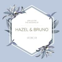 Tarjeta de invitación de boda con vector de diseño de hojas azules