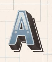 Capital letter A vintage typography style