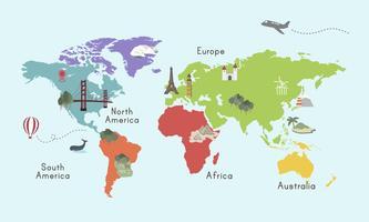 Illustration av världskarta isolerad