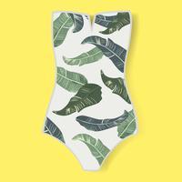 Lo swimwear della donna con le foglie verdi stampa l'illustrazione di vettore