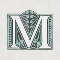 Letra maiúscula M estilo vintage de tipografia