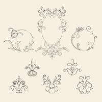 Set d'illustration Vintage florish ornament