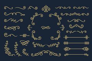Set Collection of Vintage Ornament Elements on Black Background